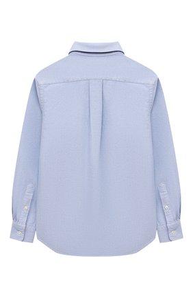 Детская хлопковая рубашка RALPH LAUREN голубого цвета, арт. 323850930 | Фото 2 (Материал внешний: Хлопок; Рукава: Длинные; Случай: Повседневный)