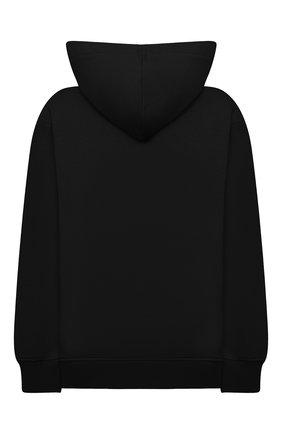 Детский хлопковое худи MSGM KIDS черного цвета, арт. MS027705 | Фото 2 (Рукава: Длинные; Материал внешний: Хлопок; Девочки Кросс-КТ: Толстовка-одежда)