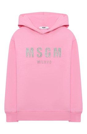 Детский хлопковое худи MSGM KIDS розового цвета, арт. MS027705 | Фото 1 (Рукава: Длинные; Материал внешний: Хлопок; Девочки Кросс-КТ: Толстовка-одежда)