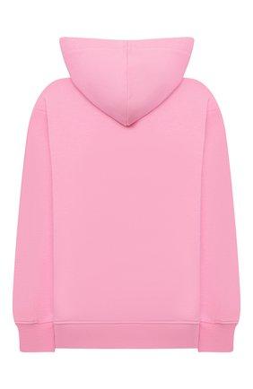 Детский хлопковое худи MSGM KIDS розового цвета, арт. MS027705 | Фото 2 (Рукава: Длинные; Материал внешний: Хлопок; Девочки Кросс-КТ: Толстовка-одежда)