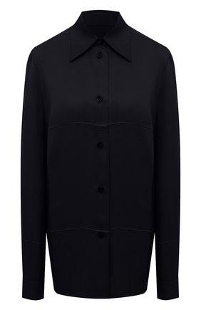 Женская рубашка из вискозы JIL SANDER темно-синего цвета, арт. JSWT605306-WT381500 | Фото 1 (Материал внешний: Вискоза; Стили: Минимализм; Принт: Без принта; Женское Кросс-КТ: Рубашка-одежда; Рукава: Длинные; Длина (для топов): Стандартные, Удлиненные)
