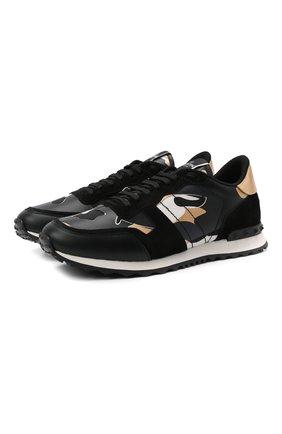 Мужские комбинированные кроссовки rockrunner VALENTINO черного цвета, арт. WY0S0723/GYE   Фото 1 (Подошва: Массивная; Материал внутренний: Текстиль; Стили: Гранж)