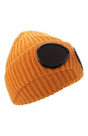 Мужская шерстяная шапка C.P. COMPANY оранжевого цвета, арт. 11CMAC122A-005509A | Фото 1 (Материал: Шерсть; Кросс-КТ: Трикотаж)