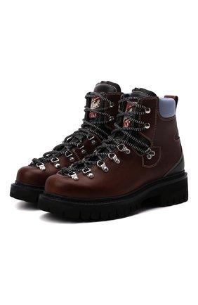 Мужские кожаные ботинки DSQUARED2 коричневого цвета, арт. ABM0088 12900358 | Фото 1 (Материал внутренний: Натуральная кожа; Подошва: Массивная; Каблук высота: Высокий; Мужское Кросс-КТ: Ботинки-обувь, Хайкеры-обувь)