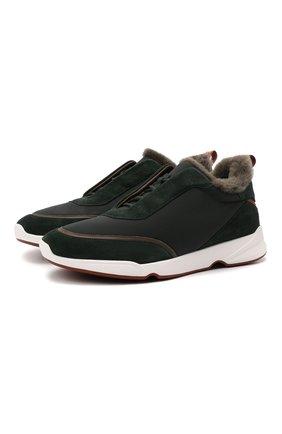 Мужские комбинированные кроссовки modular walk LORO PIANA темно-зеленого цвета, арт. FAL9358   Фото 1 (Стили: Классический; Подошва: Массивная)