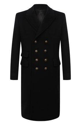 Мужской пальто из шерсти и кашемира TOM FORD черного цвета, арт. BY030/TF0812 | Фото 1 (Материал внешний: Шерсть, Кашемир; Длина (верхняя одежда): До колена; Материал подклада: Купро; Рукава: Длинные; Мужское Кросс-КТ: пальто-верхняя одежда; Стили: Классический)