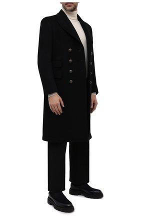Мужской пальто из шерсти и кашемира TOM FORD черного цвета, арт. BY030/TF0812 | Фото 2 (Материал внешний: Шерсть, Кашемир; Длина (верхняя одежда): До колена; Материал подклада: Купро; Рукава: Длинные; Мужское Кросс-КТ: пальто-верхняя одежда; Стили: Классический)