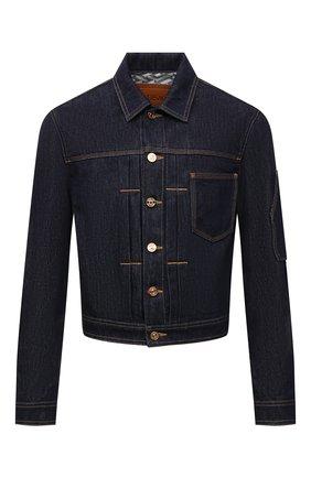 Мужская джинсовая куртка VERSACE темно-синего цвета, арт. 1001755/1A01437   Фото 1 (Длина (верхняя одежда): Короткие; Материал внешний: Хлопок; Рукава: Длинные; Кросс-КТ: Куртка, Деним; Стили: Кэжуэл)