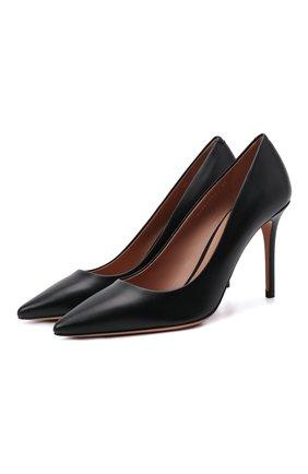 Женские кожаные туфли BOSS черного цвета, арт. 50380934 | Фото 1 (Каблук высота: Высокий; Материал внутренний: Натуральная кожа; Подошва: Плоская; Каблук тип: Шпилька)