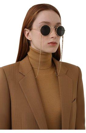 Женские солнцезащитные очки GUCCI золотого цвета, арт. GG0991S 002 | Фото 2 (Тип очков: С/з; Оптика Гендер: оптика-женское; Очки форма: Круглые, Креативные)