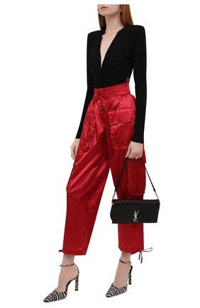 Женские брюки DOLCE & GABBANA красного цвета, арт. FTB8QT/FUS0K | Фото 2 (Материал внешний: Синтетический материал; Длина (брюки, джинсы): Стандартные; Женское Кросс-КТ: Брюки-одежда; Силуэт Ж (брюки и джинсы): Прямые; Стили: Гламурный)