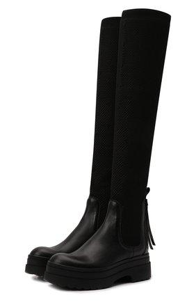 Женские комбинированные ботфорты REDVALENTINO черного цвета, арт. WQ0S0G61/PHP   Фото 1 (Каблук высота: Средний; Высота голенища: Высокие; Подошва: Платформа; Материал внутренний: Натуральная кожа; Каблук тип: Устойчивый)
