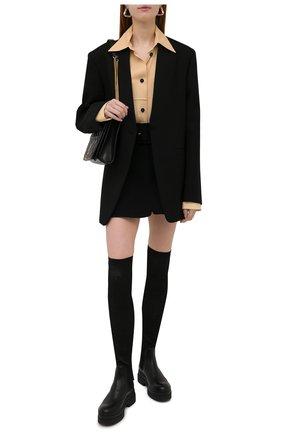 Женские комбинированные ботфорты REDVALENTINO черного цвета, арт. WQ0S0G61/PHP   Фото 2 (Каблук высота: Средний; Высота голенища: Высокие; Подошва: Платформа; Материал внутренний: Натуральная кожа; Каблук тип: Устойчивый)
