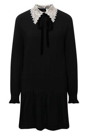 Женское платье SAINT LAURENT черного цвета, арт. 676227/Y012W   Фото 1 (Рукава: Длинные; Длина Ж (юбки, платья, шорты): Мини; Материал внешний: Вискоза, Синтетический материал; Женское Кросс-КТ: Платье-одежда; Стили: Ретро; Случай: Повседневный)