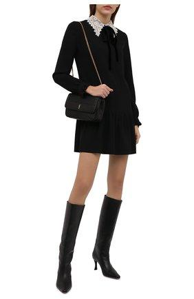 Женское платье SAINT LAURENT черного цвета, арт. 676227/Y012W   Фото 2 (Рукава: Длинные; Длина Ж (юбки, платья, шорты): Мини; Материал внешний: Вискоза, Синтетический материал; Женское Кросс-КТ: Платье-одежда; Стили: Ретро; Случай: Повседневный)