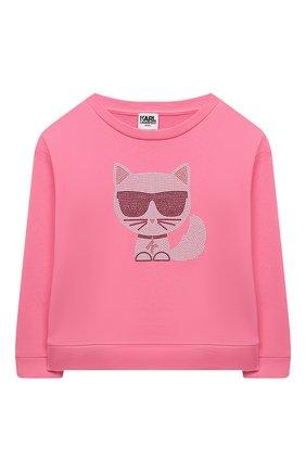 Детский хлопковый свитшот KARL LAGERFELD KIDS розового цвета, арт. Z15338 | Фото 1 (Рукава: Длинные; Материал внешний: Хлопок; Девочки Кросс-КТ: Толстовка-одежда)