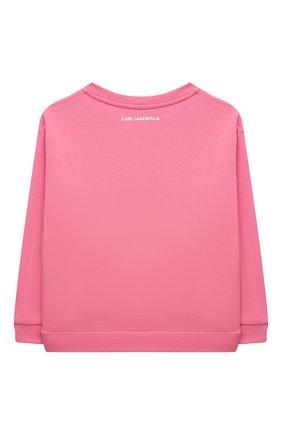 Детский хлопковый свитшот KARL LAGERFELD KIDS розового цвета, арт. Z15338 | Фото 2 (Рукава: Длинные; Материал внешний: Хлопок; Девочки Кросс-КТ: Толстовка-одежда)