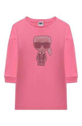 Детское хлопковое платье KARL LAGERFELD KIDS розового цвета, арт. Z12190 | Фото 1 (Материал внешний: Хлопок; Рукава: Длинные; Девочки Кросс-КТ: Платье-одежда; Случай: Повседневный)