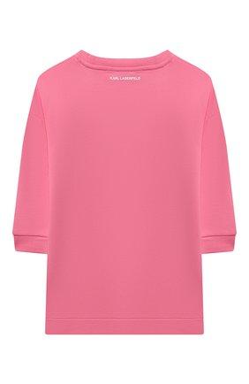 Детское хлопковое платье KARL LAGERFELD KIDS розового цвета, арт. Z12190 | Фото 2 (Материал внешний: Хлопок; Рукава: Длинные; Девочки Кросс-КТ: Платье-одежда; Случай: Повседневный)
