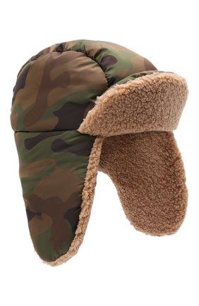 Детский утепленная шапка-ушанка IL GUFO хаки цвета, арт. A21E0300N4019 | Фото 1 (Материал: Синтетический материал, Текстиль)