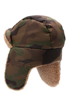 Детский утепленная шапка-ушанка IL GUFO хаки цвета, арт. A21E0300N4019 | Фото 2 (Материал: Синтетический материал, Текстиль)