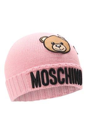 Детского шерстяная шапка MOSCHINO розового цвета, арт. HDX011/LHE18   Фото 1 (Материал: Текстиль, Синтетический материал, Шерсть)