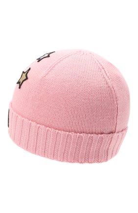 Детского шерстяная шапка MOSCHINO розового цвета, арт. HDX011/LHE18   Фото 2 (Материал: Текстиль, Синтетический материал, Шерсть)