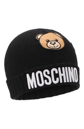 Детского шерстяная шапка MOSCHINO черного цвета, арт. HDX011/LHE18   Фото 1 (Материал: Синтетический материал, Текстиль, Шерсть)