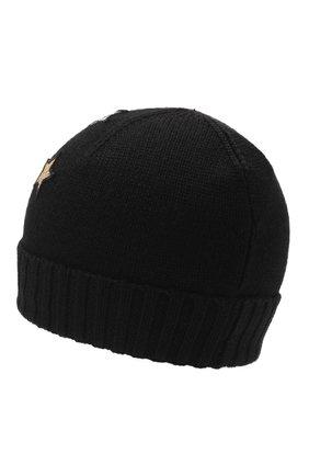 Детского шерстяная шапка MOSCHINO черного цвета, арт. HDX011/LHE18   Фото 2 (Материал: Синтетический материал, Текстиль, Шерсть)