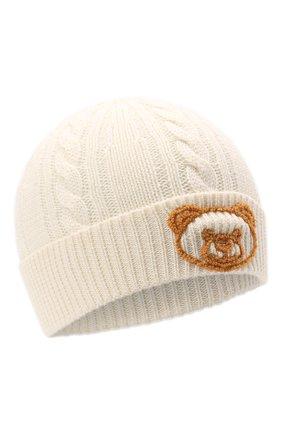 Детского шерстяная шапка MOSCHINO белого цвета, арт. HUX01H/LHE18   Фото 1 (Материал: Шерсть, Синтетический материал, Текстиль)