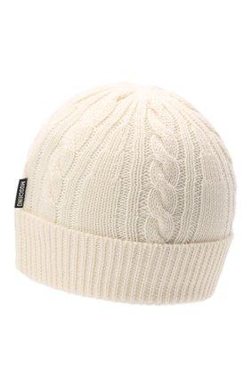 Детского шерстяная шапка MOSCHINO белого цвета, арт. HUX01H/LHE18   Фото 2 (Материал: Шерсть, Синтетический материал, Текстиль)