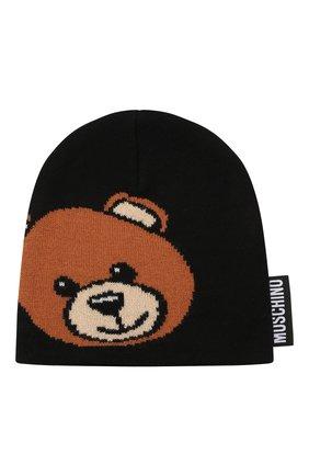 Детского шерстяная шапка MOSCHINO черного цвета, арт. HUX01L/LHE18   Фото 1 (Материал: Синтетический материал, Текстиль, Шерсть)