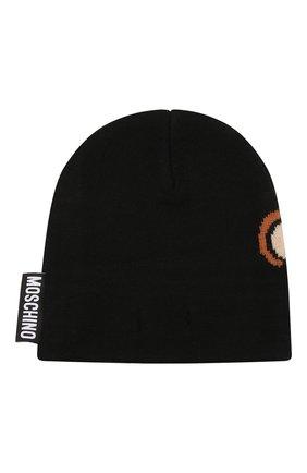 Детского шерстяная шапка MOSCHINO черного цвета, арт. HUX01L/LHE18   Фото 2 (Материал: Синтетический материал, Текстиль, Шерсть)