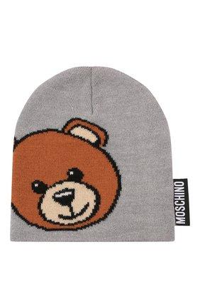 Детского шерстяная шапка MOSCHINO серого цвета, арт. HUX01L/LHE18 | Фото 1 (Материал: Синтетический материал, Шерсть, Текстиль)
