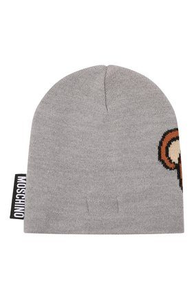Детского шерстяная шапка MOSCHINO серого цвета, арт. HUX01L/LHE18 | Фото 2 (Материал: Синтетический материал, Шерсть, Текстиль)