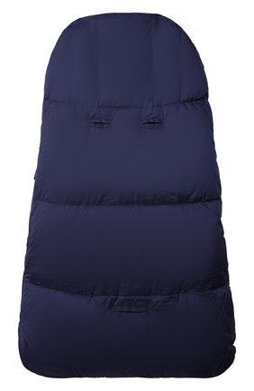 Детский пуховый конверт MOSCHINO темно-синего цвета, арт. MME00D/L3A22   Фото 2 (Материал: Текстиль, Синтетический материал)
