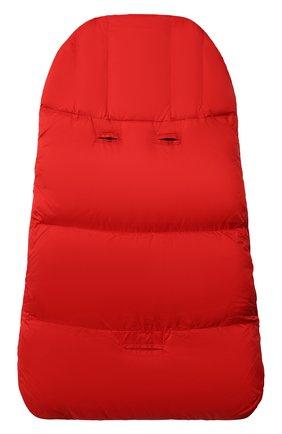 Детский пуховый конверт MOSCHINO красного цвета, арт. MME00D/L3A22   Фото 2 (Материал: Синтетический материал, Текстиль)