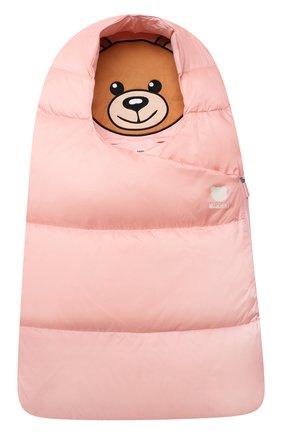 Детский пуховый конверт MOSCHINO розового цвета, арт. MME00D/L3A22   Фото 1 (Материал: Синтетический материал, Текстиль)