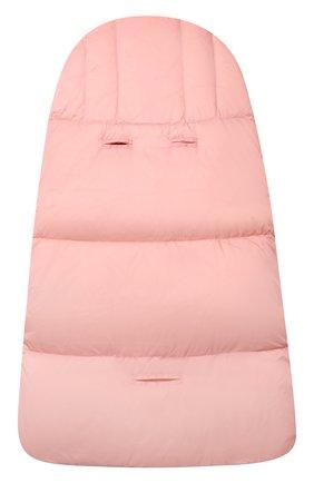 Детский пуховый конверт MOSCHINO розового цвета, арт. MME00D/L3A22   Фото 2 (Материал: Синтетический материал, Текстиль)