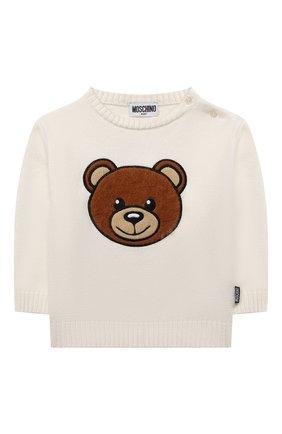 Детский хлопковый пуловер MOSCHINO кремвого цвета, арт. MNW00J/LHE09   Фото 1 (Материал внешний: Синтетический материал, Хлопок; Рукава: Длинные)