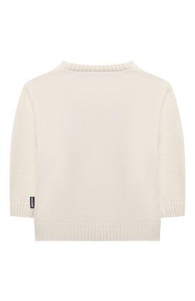 Детский хлопковый пуловер MOSCHINO кремвого цвета, арт. MNW00J/LHE09   Фото 2 (Материал внешний: Синтетический материал, Хлопок; Рукава: Длинные)