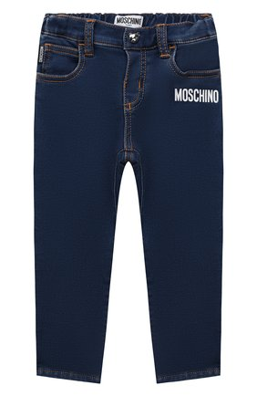 Детские джинсы MOSCHINO темно-синего цвета, арт. MUP03R/LDE07   Фото 1 (Материал внешний: Синтетический материал, Хлопок; Материал подклада: Хлопок)