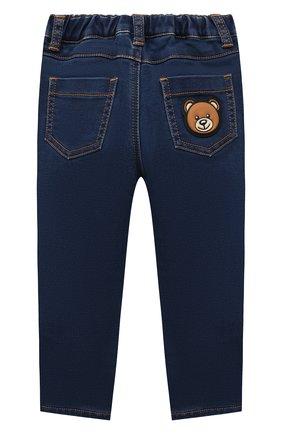 Детские джинсы MOSCHINO темно-синего цвета, арт. MUP03R/LDE07   Фото 2 (Материал внешний: Синтетический материал, Хлопок; Материал подклада: Хлопок)