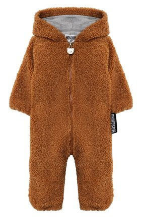 Детского комбинезон с капюшоном MOSCHINO коричневого цвета, арт. MUT027/LIA00/9-12M   Фото 1 (Рукава: Длинные; Материал внешний: Синтетический материал; Материал подклада: Хлопок)