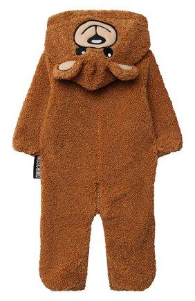 Детского комбинезон с капюшоном MOSCHINO коричневого цвета, арт. MUT027/LIA00/9-12M   Фото 2 (Рукава: Длинные; Материал внешний: Синтетический материал; Материал подклада: Хлопок)