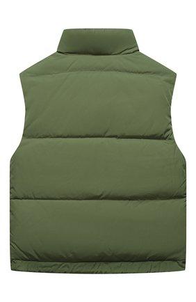 Детский пуховый жилет FENDI зеленого цвета, арт. JUA110/AAC1/8A-12+ | Фото 2 (Рукава: Короткие; Материал внешний: Синтетический материал; Материал утеплителя: Пух и перо; Материал подклада: Синтетический материал; Мальчики Кросс-КТ: Верхняя одежда; Кросс-КТ: Сезон: зима)