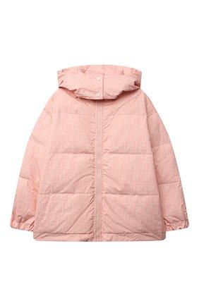 Детская пуховая куртка FENDI розового цвета, арт. JUA086/AEZM/8A-12+ | Фото 1 (Материал утеплителя: Пух и перо; Материал подклада: Синтетический материал; Рукава: Длинные; Материал внешний: Синтетический материал; Кросс-КТ: Сезон: зима; Девочки Кросс-КТ: Пуховик-верхняя одежда)