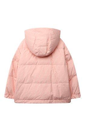 Детская пуховая куртка FENDI розового цвета, арт. JUA086/AEZM/8A-12+ | Фото 2 (Материал утеплителя: Пух и перо; Материал подклада: Синтетический материал; Рукава: Длинные; Материал внешний: Синтетический материал; Кросс-КТ: Сезон: зима; Девочки Кросс-КТ: Пуховик-верхняя одежда)