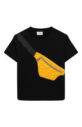 Детская хлопковая футболка FENDI черного цвета, арт. JMI374/7AJ/8A-12+ | Фото 1 (Материал внешний: Хлопок; Рукава: Короткие)