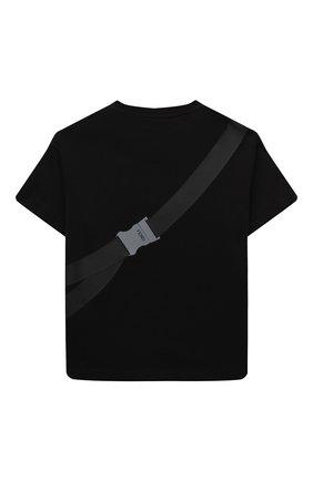 Детская хлопковая футболка FENDI черного цвета, арт. JMI374/7AJ/8A-12+ | Фото 2 (Материал внешний: Хлопок; Рукава: Короткие)